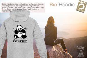 PandaWear by Adrian Muff und Time-Visions grauer Hoody und im Hintergrund Frau - Plakat